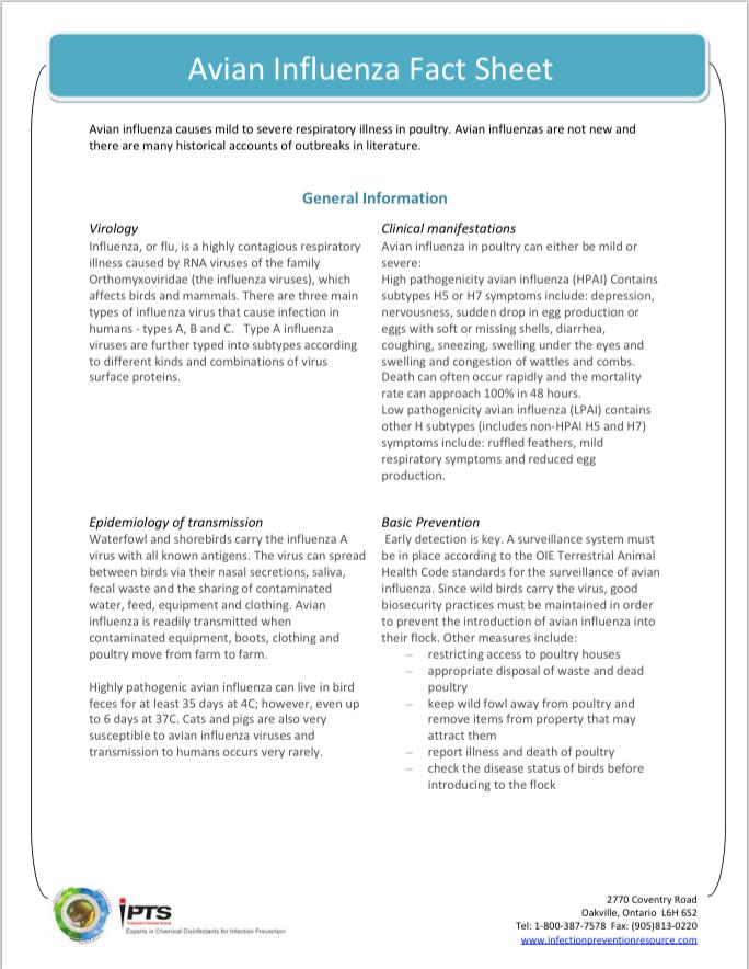 Avian Influenza Fact Sheet